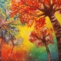 Színes fák tájkép művészi nyomat, reprodukció, Képzőművészet, Festmény, Grafika, Illusztráció, Festészet, Fotó, grafika, rajz, illusztráció, Az eredeti terméket vászonra festettem olaj festékkel, ez csupán egy REPRODUKCIÓ!   Kinyomtatott, m..., Meska