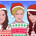 Egyedi karácsonyi téli digitális portré Mikulás sapkával, Képzőművészet, Illusztráció, Grafika, Festmény, Fotó, grafika, rajz, illusztráció, A képek megrendelésre készülnek! Általában 1 hétig tart elkészíteni őket,de ez a maximum.  A Te kép..., Meska