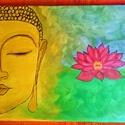 Buddha lótusszal, Képzőművészet, Dekoráció, Festmény, Akril, Festészet, Kézzel festett feszített vászonra ékrámán. Gyöngyház hatású akril festékkel, Mérete 25x30 cm , 8db ..., Meska