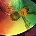 Szivárványos hangulat vászonkalap, Ruha, divat, cipő, Esküvői ruha, Festett tárgyak, Festett összecsukható vászon kalap  Amerikából rendeltem ezeket a fehér vászonkalapokat, / a selyem..., Meska