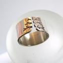 Fa ezüst gyűrű (10mm, fényes), Ékszer, óra, Gyűrű, Ékszerkészítés, Gyűrű fa mintával, Sterling ezüstből. Fűrészelt, hajlított, kívülről tükörfényesre polírozott, bels..., Meska