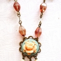 Szett. Vintage Bál Rózsa Kámea nyaklánc és fülbevaló, Ékszer, óra, Ékszerszett, Fülbevaló, Nyaklánc, Ékszerkészítés, Szett. Vintage Bál Rózsa Kámea nyaklánc és fülbevaló.  Pasztell rózsaszín és kobaltkék színkombinác..., Meska