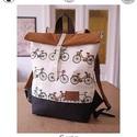 Serin bicikli mintás hátizsák. , Táska, Hátizsák, Varrás, Újrahasznosított alapanyagból készült termékek, Egyéni hátizsák. A táska vészon,  alatta pedig cordura található, ami a táskának tartást ad illetve..., Meska