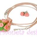 Rózsaszín rózsák nyaklánc és fülbevaló szett  romantikus nőknek és lányoknak, Ékszer, óra, Nyaklánc, Ékszerszett, Gyurma, Ékszerkészítés, Süthető gyurmából készült ez az egyedi, rózsaszín rózsás nyaklánc és a hozzá tartozó fülbevaló. A n..., Meska