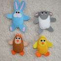 Húsvéti állatkák, Dekoráció, Baba-mama-gyerek, Ünnepi dekoráció, Varrás, Aranyos tyúkanyó, kiscsibe, nyuszi és bárány várja a húsvéti locsolókat :)  Aranyeső, vagy barka ág..., Meska
