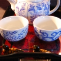 kézzel festett teás szett, Konyhafelszerelés, Bögre, csésze, Kancsó , Festett tárgyak, Porcelán kanna  és 2 csésze, általam kézzel festett kék motívumokkal, porcelánfesték felvitelével. ..., Meska