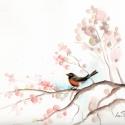 Madár tavaszi ágon, Dekoráció, Otthon, lakberendezés, Képzőművészet , Kép, Festészet, Fotó, grafika, rajz, illusztráció, Kedves, egyedi vegyes technikával készült képek madarakról. Méretük változó és mindegyik aquarell-pa..., Meska