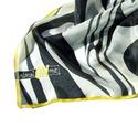 animalONme zebra mintás selyemkendő, Ruha, divat, cipő, Kendő, sál, sapka, kesztyű, Kendő, Selyemfestés, Fekete fehér a zebra mintája. Kontrasztos elegáns formavilágú kendő. Szegélye élénksárga, mely még ..., Meska