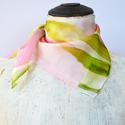 Rózsaszín, barack tulipános selyemkendő, Ruha, divat, cipő, Kendő, sál, sapka, kesztyű, Kendő, Selyemfestés, Halványrózsaszín, barackrózsaszín, pasztellzöld színekben festettem meg ezt a romantikus hangulatú ..., Meska
