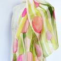 Rózsaszín, barack tulipános selyemsál, Ruha, divat, cipő, Kendő, sál, sapka, kesztyű, Kendő, Selyemfestés, Halványrózsaszín, barackrózsaszín, pasztellzöld színekben festettem meg ezt a romantikus hangulatú ..., Meska