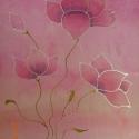 Romantikus selyemsál, Ruha, divat, cipő, Kendő, sál, sapka, kesztyű, Sál, Selyemfestés, anyaga: 100% selyem mérete: 40*150 cm Mintája: fehér-rózsaszín pillangó virágok. Nagyon dekoratív,e..., Meska