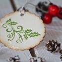 """""""Magyal ág"""" Karácsonyi ajándékkísérő, Dekoráció, Karácsonyi, adventi apróságok, Ajándékkísérő, képeslap, Karácsonyi dekoráció, Papírművészet, Egyedi készítésű karácsonyi ajándékkísérő, melyet strukturált felületű kartonra nyomdázással készít..., Meska"""
