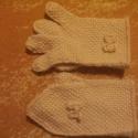 Kétujjas / Ötujjas horgolt kesztyű masnival, afgán mintával, Ruha, divat, cipő, Kendő, sál, sapka, kesztyű, Kesztyű, , Meska
