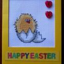 Hímzett húsvéti csibés üdvözlőlap, Dekoráció, Húsvéti apróságok, Hímzett húsvéti csibés üdvözlőlap Kedves húsvéti lap hímzett csibével, szalagokkal, matricákkal és g..., Meska