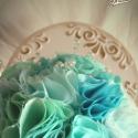 Vintage türkiz menyasszonyi csokor, Esküvő, Esküvői csokor, Gyöngyfűzés, Virágkötés, A türkiz minden árnyalata szerepel ebben a csokorba, mely szabályos gömb forma. Csillogását a gyöng..., Meska