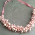 L1598 rózsaszín  gyöngyös nyaklánc, Ékszer, óra, Nyaklánc, Ékszerkészítés,  Egyedi nyaklánc rózsaszín tekla gyöngyökkel és szaténszalaggal.  A nyaklánc hossza 41cm + 5cm (más..., Meska