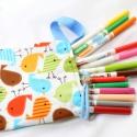 autós ceruzatartó - hordozható, felakasztható - madaras, Játék, Baba-mama-gyerek, Varrás, Ennek a ceruzatartónak két éve nyáron született az ötlete, amikor öt gyerekkel az autóban Párizsba ..., Meska