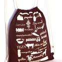 Jelképekzsák - csokoládé, Táska, Hátizsák, Festészet, Varrás, 34x42 cm nagyságú pamutvászon hátizsák. A csokoládébarna tornazsákra finom krémszínnel nyomtuk egye..., Meska
