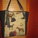 Óriási pakolós táska lovasoknak,vagy lovak szerelmeseinek, Táska, Laptoptáska, Szatyor, Bőrművesség, Varrás, -nagyon szép és jó minőségű gobelin szövetből varrtam ezt a hatalmas táskát,amit jó minőségű fekete..., Meska