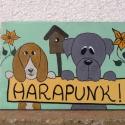 Harapós kutya táblácska, Állatfelszerelések, Dekoráció, Otthon, lakberendezés, Utcatábla, névtábla, , Meska