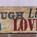 Zsákvászonra festett kép Live Love Laugh, Dekoráció, Otthon, lakberendezés, Kép, Falikép, , Meska
