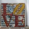 Zsákvászonra festett kép LOVE, Dekoráció, Otthon, lakberendezés, Kép, Falikép, , Meska