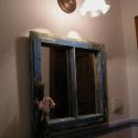 Tükör régi ablakkeretben 44 x 48 cm, Dekoráció, Otthon, lakberendezés, Dísz, Képkeret, tükör, , Meska