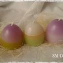Tojás gyertya szett (3db), Dekoráció, Otthon, lakberendezés, Húsvéti apróságok, Gyertya, mécses, gyertyatartó, Gyertya-, mécseskészítés, Tavasz ihlette.. Színes, tarkabarka húsvéti tojásgyertyák. Az ünnepi asztal kötelező kelléke.  kb.6..., Meska