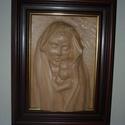 Madonna, Képzőművészet, Napi festmény, kép, Famegmunkálás, Juharfából készült falikép. A keretet nem én csináltam. Mérete:40x50x12cm, Meska