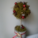 """Succult karácsonyi gömbfa, Otthon, lakberendezés, Dekoráció, Karácsonyi, adventi apróságok, Karácsonyi dekoráció, Virágkötés, Garantáltan egyedi karácsonyi dekoráció,ez az uszadékfára tűzött, hungarocell kúpra ragasztott  """"gö..., Meska"""