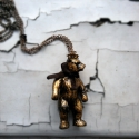 Medvék királya nyaklánc, Ékszer, óra, Ruha, divat, cipő, Nyaklánc, Ékszerkészítés, Mindenmás, A medve anyaga műanyag,amit bronzporral és akrilfestékkel patináztam, majd lakkal fixáltam.   méret..., Meska