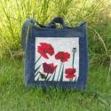 SUNNY-Pipacsos farmer táska, Ruha, divat, cipő, Táska, Válltáska, oldaltáska, Varrás, Patchwork, foltvarrás, Papírtechnikával készített pipacsos képet farmerrel kombinálva készítettem ezt a táskát. Igazán egy..., Meska