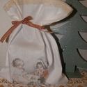 """textil zsák """"Teázás"""", Dekoráció, Karácsonyi, adventi apróságok, Ünnepi dekoráció, Ajándékzsák, Varrás, Ezt a textil zsákot vintage mintával transzferrel készítettem ami 23x32 cm magas. Ajándéknak,házi s..., Meska"""