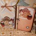 Textil zsák+receptes füzet, Konyhafelszerelés, Karácsonyi, adventi apróságok, Receptfüzet, Ajándékzsák, Decoupage, szalvétatechnika, Varrás, Ebbe a csomagba egy receptes füzetet és egy textil zsákot tettem amit mézeskalács emberkével díszít..., Meska