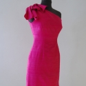 Pink koktélruha, Ruha, divat, cipő, Női ruha, Ruha, Varrás, Selyemshantung pink koktélruha, bal oldalon húzózárral. MB. : 90 cm. DB. : 66-67 cm. CSB. : 90-93 c..., Meska