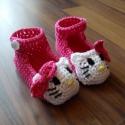horgolt hello kitty cipő ( 10 cm ), Ruha, divat, cipő, Cipő, papucs, Horgolás, horgolt hello kitty cipőcske, 10 cm talphosszal, pamut fonálból ! , Meska