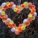 Szív, Esküvő, Dekoráció, Esküvői dekoráció, Dísz, Papírművészet, 30x22 cm-es papírvirágokkal borított szív. alapja 1,5 mm-es karton, melyet hatféle, különböző, vála..., Meska