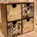 Provence   stíilusú olivás kis komód, Otthon, lakberendezés, Bútor, Tárolóeszköz, Komód, Decoupage, szalvétatechnika, Kopottas hatású, provence hangulatot árasztó olívás kis komód. Kis helyen elfér. Négy fiókjában apr..., Meska