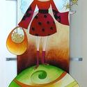 Angyalkás fali lámpa, Dekoráció, Képzőművészet, Otthon, lakberendezés, Lámpa, Festészet, Üvegművészet, Savmart üvegre festett, 26x56cm nagyméretű fali lámpa, mely négy csavarral rögzíthető a falra. Rend..., Meska