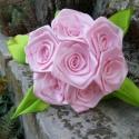 7 szálas rózsaszín rózsacsokor, Dekoráció, Otthon, lakberendezés, Mindenmás, Virágkötés, A csokor 25mm széles, rózsaszín színű szatén szalagból készült rózsafejekből áll, amik átlag 40mm át..., Meska