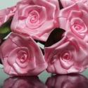 7 szálas  rózsaszín rózsacsokor, Dekoráció, Otthon, lakberendezés, Mindenmás, Virágkötés, A csokor 25mm széles, rózsaszín színű szatén szalagból készült rózsafejekből áll, amik átlag 40mm á..., Meska