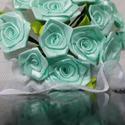 Menta selyem rózsacsokor, Dekoráció, Otthon, lakberendezés, Dísz, Mindenmás, Virágkötés, 15 szál vegyes fejméretű (2cm - 4cm )csokor..menta színekben..  a csokor zöld levelekkel készül..  ..., Meska