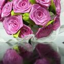 Pink selyem rózsacsokor, Dekoráció, Otthon, lakberendezés, Dísz, Mindenmás, Virágkötés, 17 szál vegyes fejméretű (2cm - 4cm )csokor..pink színekben..  a csokor zöld levelekkel készül..  a..., Meska