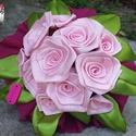 6+5 rózsaszín rózsacsokor, Dekoráció, Otthon, lakberendezés, Mindenmás, Virágkötés, A rózsafejek 25mm széles szalagból készültek.  6db 40-50mm-es és 5db 30-40mm-es rózsafejek alkotják..., Meska