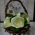 Sárga selyem rózsák kosárban, Esküvő, Otthon, lakberendezés, Papírművészet, Virágkötés, Selyem szalagból készült rózsákat most kiskosárba tettem :)  A rózsák 20mm széles szalagból készüln..., Meska