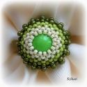 Zöld gyöngyfűzött koktélgyűrű, Ékszer, óra, Gyűrű, Ékszerszett, Ékszerkészítés, Gyöngyfűzés, Egyedi, saját tervezésű, különleges formavilágú, dekoratív gyöngyfűzött koktélgyűrű, a zöld különböz..., Meska