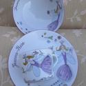 Tündéres mintával megfestett porcelán  gyermek étkészlet, Baba-mama-gyerek, Konyhafelszerelés, Bögre, csésze, Baba-mama kellék, Kerámia, Festészet,   3 részből álló tündéres mintával festett porcelán gyermek étkészlet.  Kemény porcelán alapanyagra..., Meska