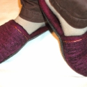 Bordó - fekete papucs természetes kaucsuk talppal.  (nemez- selyem), Ruha, divat, cipő, Cipő, papucs, Karácsonyi, adventi apróságok, Nemezelés, Selyemfestés, EZ A TERMÉK MINTA! HASONLÓ vagy más színű  méretű, fazonú megrendelhető. 100%  Extra finom merinói ..., Meska