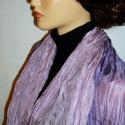 Növényi festett lila lilával hernyóselyem  stóla (kabátka-mellény), Ruha, divat, cipő, Kendő, sál, sapka, kesztyű, Női ruha, Sál, Selyemfestés, Varrás, Nincs pénzed új ruhára,gyönyörű,elegáns,egyedi szeretnél lenni?Itt van a finom nőies megoldás. Egy ..., Meska
