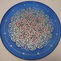 Tenger virága mandala, Dekoráció, Kép, Selyemfestés, 25 cm átmérőjű kézzel festett egyedi selyemkép.  A minta számomra a mozgalmasságot  és az állandó v..., Meska
